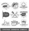 set of vintage cooking labels vector image
