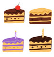 tasty cake slices with frosting and cream vector image vector image