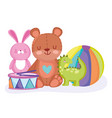 teddy bear rabbit dinosaur ball and drum toys vector image vector image