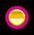 the pink golden badge medal vector image vector image