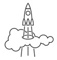 the rocket soars up through the cloud vector image