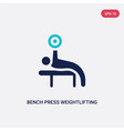 two color bench press weightlifting icon from gym