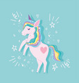 unicorn with rainbow hair stars dream magic animal vector image vector image