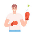 young male character wearing boxing gloves for vector image