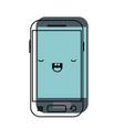 kawaii smartphone icon in watercolor silhouette vector image