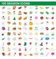100 seasons icons set cartoon style vector image