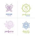 set of perfume and cosmetics logo design templates vector image