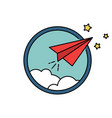 paper airplane retro badge or icon freedom vector image