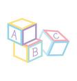 alphabet blocks toys icon design white background vector image