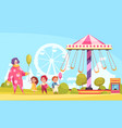 amusement park cartoon background vector image vector image