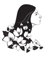 Beautiful woman with flowers vector image vector image