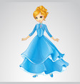 Blonde Princess In Blue Fashion Dress vector image vector image