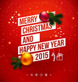 Bright Christmas and New 2015 year card Red vector image