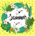 bright summer poster with exotic plants and vector image vector image
