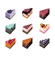 Cake set Isometric flat design web icon collection vector image