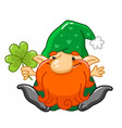 cartoon gnome character for st patrick day vector image