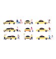 characters and taxi person car passengers vector image vector image