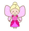 cute fairy character winged elf princess in pink vector image vector image