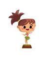 cute hawaiian girl dancing hula in traditional vector image vector image