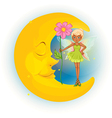 Fairy Sleeping Moon vector image vector image