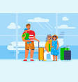 family characters on vacation travel at airport vector image vector image