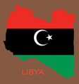 flag map of libya vector image vector image