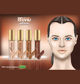foundation creams set ads with nice brunette vector image vector image