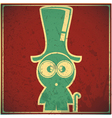 Funny character in hat on grunge background vector image vector image
