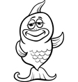 funny fish cartoon coloring page vector image vector image