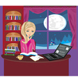 girl doing homework vector image