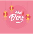 happy bhai dooj hanging lanterns decoration vector image vector image