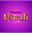 happy diwali glitter text on purple background vector image vector image