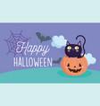 happy halloween pumpkin with black cat bat clouds vector image vector image