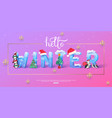 hello winter banner template with 3d ice vector image vector image