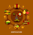 horticulture icons circle composition vector image
