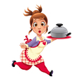 Housewife with pot vector image