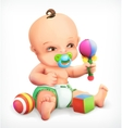 Kid with a rattle and pacifier vector image vector image