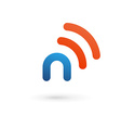 Letter N wireless logo icon design template vector image vector image