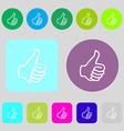 Like sign icon Thumb up symbol Hand finger-up 12 vector image vector image