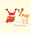 merry christmas card with santa claus stuck in vector image vector image