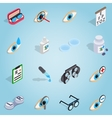Optometry set icons isometric 3d style vector image vector image
