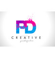 pd p d letter logo with shattered broken blue vector image