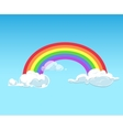 Rainbow and clouds against blue sky vector image vector image