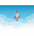 rocket paper cut rockets launch with clouds vector image vector image