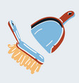 scoop broom on white vector image vector image