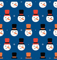 seamless pattern background with snowmen in hats vector image vector image