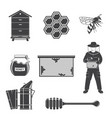 set beekeeping equipment silhouette icons vector image
