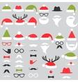 set santa hats mustache and beards vector image vector image