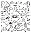 social media doodle internet website doodles vector image