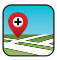 Street map icon with the pointer pharmacies vector image vector image